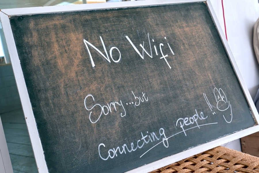 No Wifi - Connecting People Sign on Chalkboard